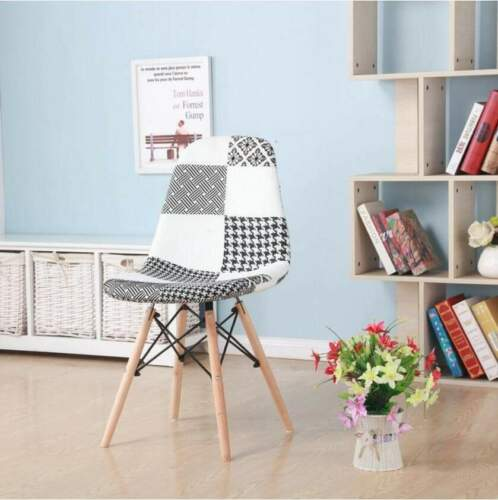 Patchwork Fabric Dining Chairs - Padded Seat - Wooden Legs Home Office Furniture