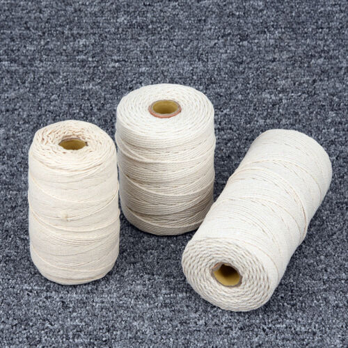 1 2 3mm Natural Twisted Cord Rope Beige Cotton Craft Macrame Artisan String