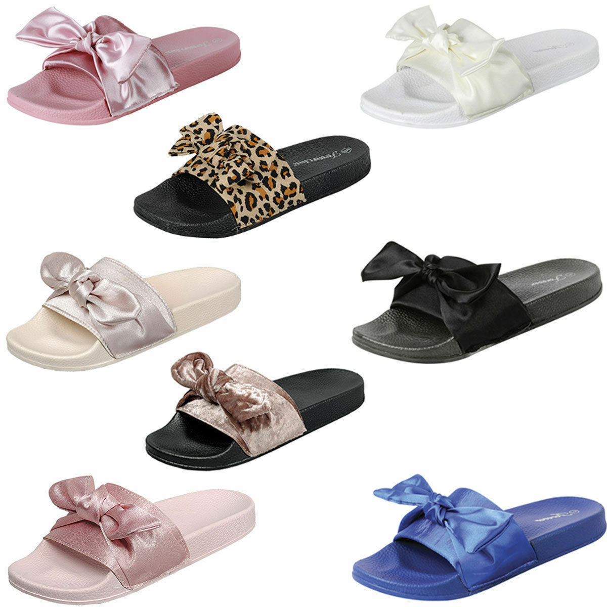 WOMEN'S  SATIN BOW RIHANNA SLIDE SANDALS RUBBER MOLDED FOOTBED SLIPPERS SANDALS SLIDE SHOES 009022