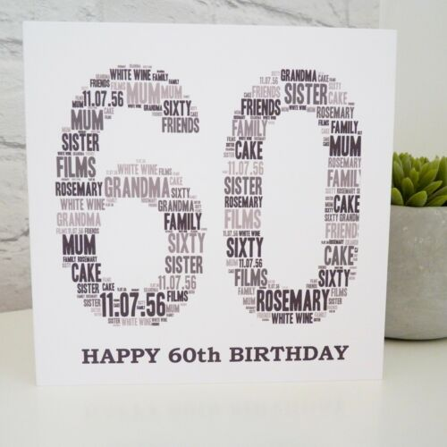 60th 50th Personalised 30th 80th Birthday Card 70th 40th