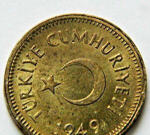 1975 Turkey 10 Kurus Aluminum Wheat Moon BU Coin