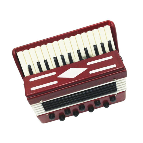1//12 Dollhouse Wooden Accordion Miniature Musical Instruments Model Toys