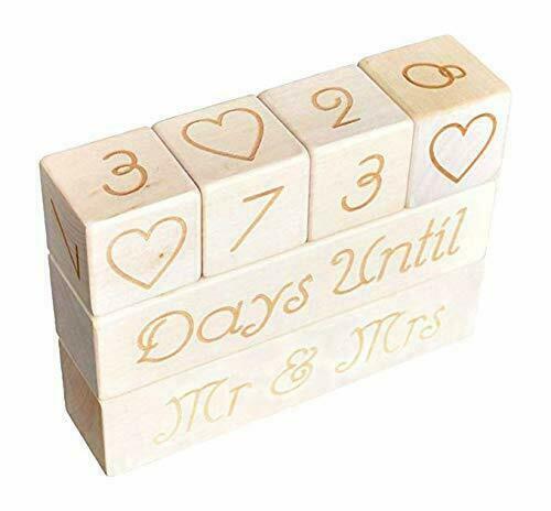 Wedding Countdown Calendar Wooden Blocks Unique Funny