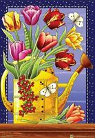 Colorful Cuttings Small Garden Flag Watering Can Tulips Butterflies 12x18