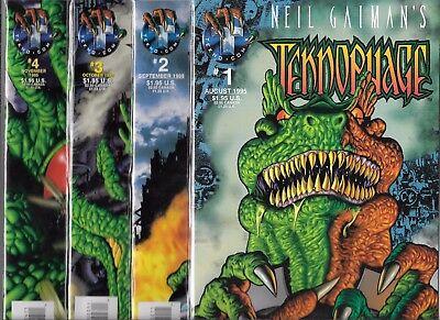 nm- #1 #2 #3 #4 Tecko Comics Generous Neil Gaiman's Teknophage Lot Of 4