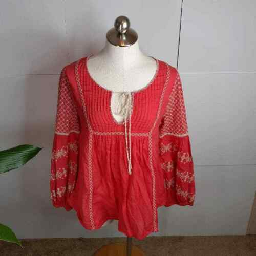 Free People Size S Embroidered Boho Peasant Top