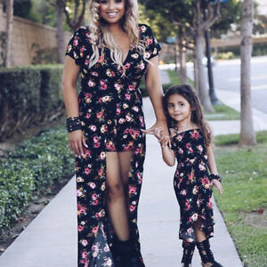 44dc89c169c0 Image is loading Summer-Mother-amp-Daughter-Matching-Floral-Family-Dress-