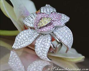 Exklusiv Wg750 21000€ Ohne RüCkgabe Exquisiter Brillanten Orchidee Ring Mit Saphiren 5,34 Ct