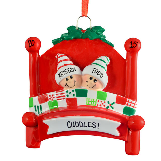 Bed Heads Family of 2 3 4 5 6 7 8 9 10 Personalized  Christmas Ornament