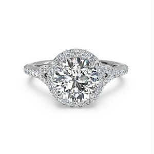 1.10 Ct Round Cut Moissanite Engagement Superb Ring 18K Solid White Gold Size 4