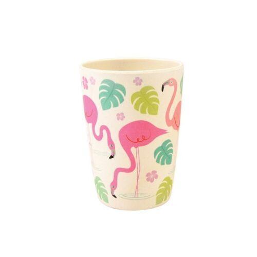 ECO FRIENDLY BAMBOO FIBRE  Reusable Beaker Tumbler Flamingo Bay Design