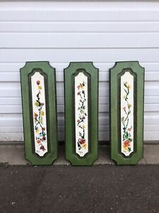 Set Of 3 Vintage Hanging Wall Plaques Panels With Flowers Oriental Style MCM