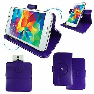 Mobile-Phone-Book-Wallet-Case-For-ZTE-Blade-V220-360-Purple-M