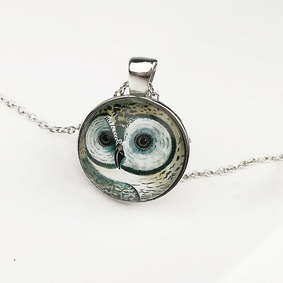1 X Vintage OWL Cabochon Tibetan Silver Glass Chain Pendant Necklace Xmas Gift