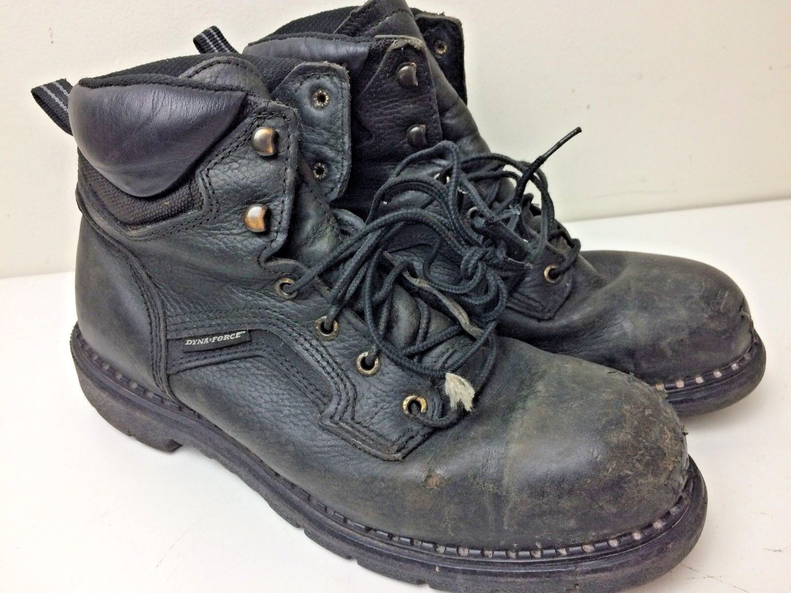 Red Wing Dyna Force ASTM Black Leather Leather Leather Steel Toe Ankle Boots 9 1/2 USA 138eb4