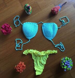 Costume Da Bagno Uncinetto Brasiliano Tanga Crochet Bikini Sling