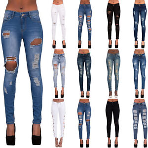 3125b4ea94e1 Womens Blue Ripped Knee Cut Skinny Jeans Slim Fit Ladies Denim Size ...