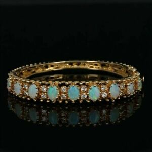 5-00Ct-Oval-Fire-Opal-amp-Diamond-7-25-034-Tennis-Bracelet-14k-Yellow-Gold-Over