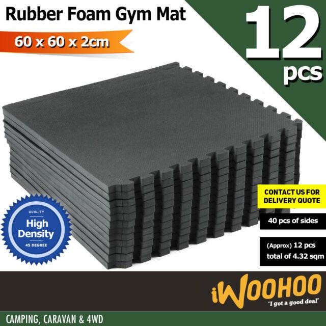 12 Tiles EVA Rubber Foam Gym Mat 60x60x2cm Fitness Flooring
