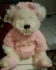 "Star Warner Plush Pink Robe/Slippers White Teddy Stuffed Bear Headband Bow 14"""