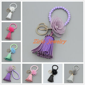 Womens-Leather-Tassel-Flower-Key-Chain-Purse-Bag-Keyring-Handbag-Clutch-Wristlet