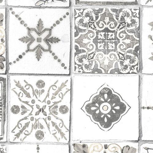 Neutral Square Tiles on Solid Vinyl Backsplash Wallpaper Ck36620