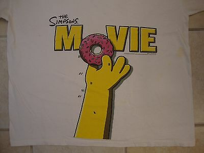 The Simpsons Movie Sprinkles Donut Homer Simpson Iconic Picture White T Shirt XL