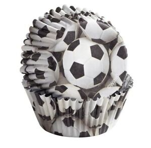 FOIL SOCCER BALL PARTY SPORTS CUPCAKE BAKERY BAKING CUPS 36 CT.