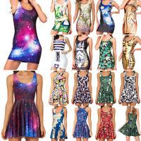 Women Digital Print Reversible Skater Dress Slim Stretch Bodycon Mini Tank Dress