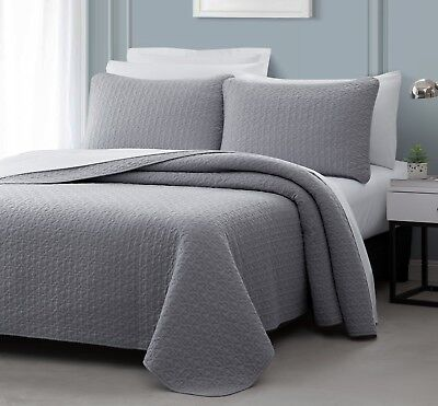 Vega 3pc Quilted Bedspread Set Tan Stitched pattern 100/% Cotton Filling Coverlet