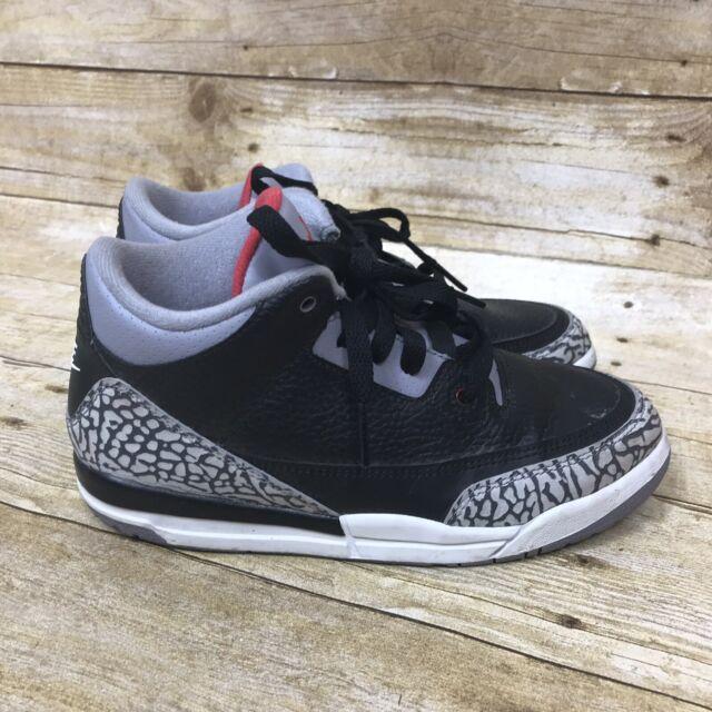 9ad7cb5841f Nike Air Jordan III 3 Retro BLACK CEMENT Kids Size 3Y Boys Girls Youth Kid  2017