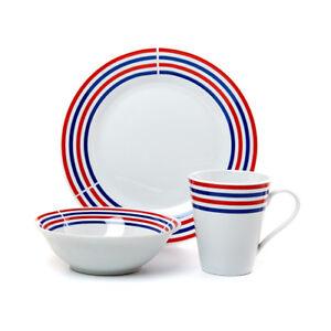 Image is loading Patriotic-Stoneware-Dinnerware-Set-12-Pc-Dinner-Plates-  sc 1 st  eBay & Patriotic Stoneware Dinnerware Set 12 Pc Dinner Plates Bowls Mug Red ...