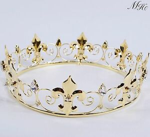 Image Is Loading Imperial Gold Crowns Renaissance Tiaras Rhinestone Wedding Bridal