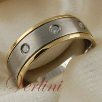 Titanium Ring 14k Gold Wedding Band Simulated Diamond For Men Or Women Size 6-13