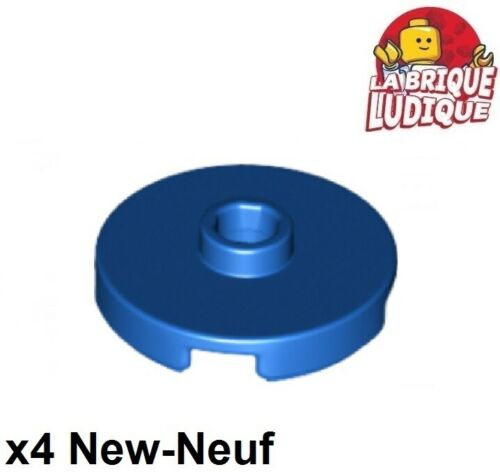 4x Tile Round plaque lisse open stud 2x2 bleu//blue 18674 NEUF Lego