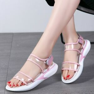 Details about Summer Ladies PVC Slingbacks Wedge Sandals Clear Flats Women New Open Toes Shoes