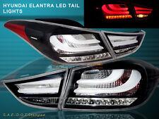 2011 - 2013 ELANTRA LED TAIL LIGHTS BLACK 4PCS (OUTER PCS W/ BULB) BMW STYLE