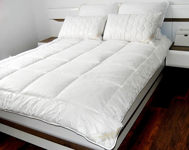 Bettdecke aus Merino wolle, Steppdecke 100 % Natur 8-10.5 Tog, 500 g/m² warm