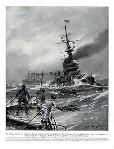 HMS-Audacious-Untergang-XL-Kunstdruck-1914-von-Willy-Stoewer-England-Marine-Mine