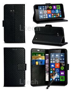 Microsoft-Lumia-640-XL-LTE-Carbone-Fibre-Effet-Portefeuille-Etui-Housse-amp