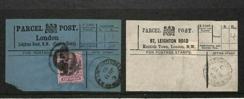 GB Parcel Post Labels 97 Leighton Road London Matched Pair 19031909 MS1546