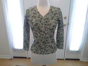 SIZE-SP-NEW-WOMENS-19-99-CLASSIC-ELEMENTS-PETITE-Green-St-Patrick-039-s-Top