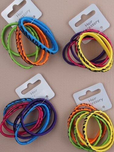 Ensemble de 6 imprimé animal lumineux élastiques à cheveux design bandes Bobbles-Accessoires