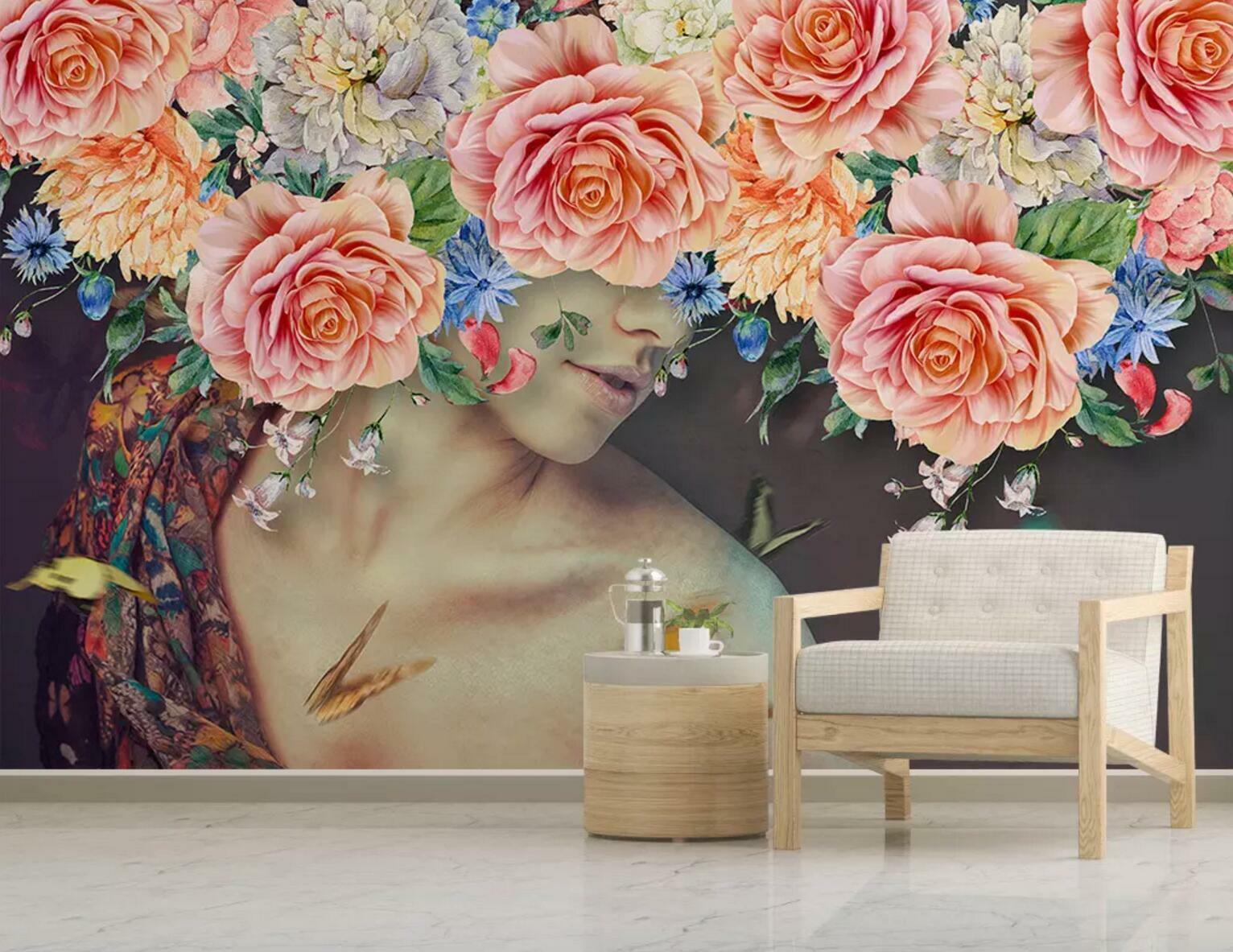 3D Lady Body Flower 5 Wall Paper Exclusive MXY Wallpaper Mural Decal Indoor wall