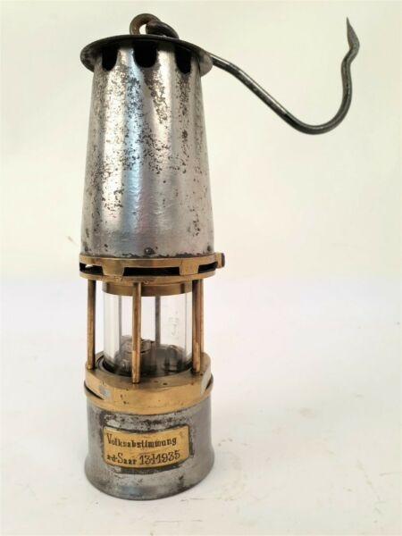 100% Wahr Benzinlampe Mit Widmung Volksabstimmung An Der Saar 13.01.1935 - Nix Wie Hemm