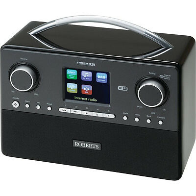 ROBERTS STREAM93I DAB+ Mains Powered Clock Radio Black Built In Wi-Fi
