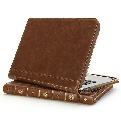 MacBook Air Pro 13 Sleeve - GMYLE Book Case Vintage - Brown Zipped Cover