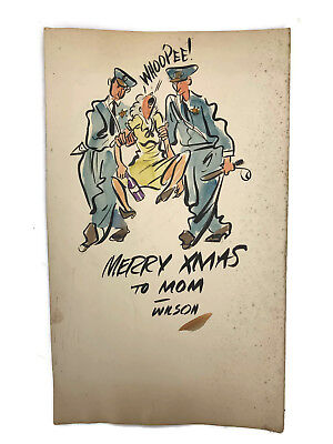 Christmas Card Artist.Vtg Wilson Cutler Illustration Artist Original Christmas Card To Mom Cops Police Ebay