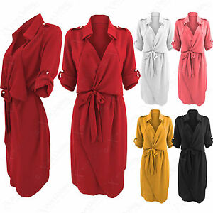 4e2594f3afc Image is loading NEW-LADIES-WATERFALL-CREPE-SHIRT-DRESS-WOMEN-WRAPOVER-