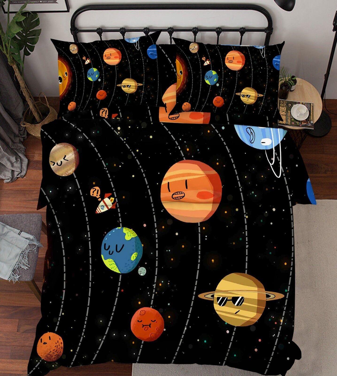3D Planet Pattern 87 Bett Pillowcases Quilt Duvet Startseite Set Single Königin König CA